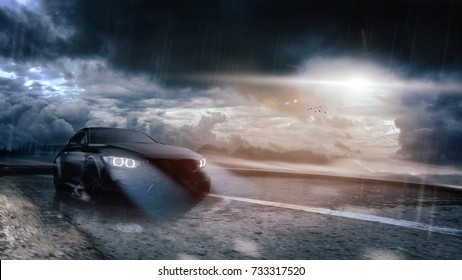 High speed, black sports car on the road (with grunge/dust overlay) brand less - futuristic concept - 3d illustration