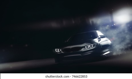 High speed black sports car - driving from city (with grunge overlay and motion blur) - 3d illustration