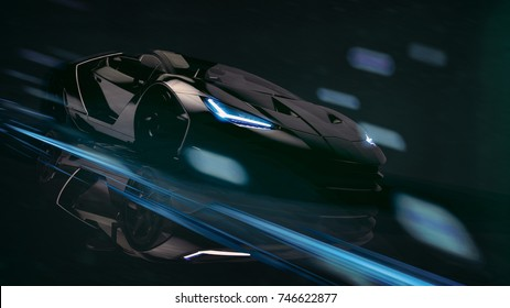 High speed black sports car - futuristic concept (with grunge overlay and motion blur) - 3d illustration