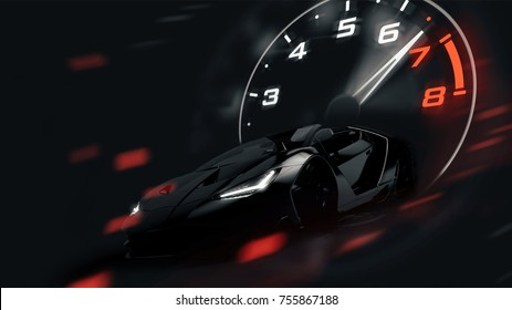 High speed black sports car with RPM in the background - 3d illustration