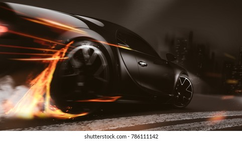High speed black sports car - city street racer concept (with grunge overlay and motion blur) generic and brandless - 3d illustration