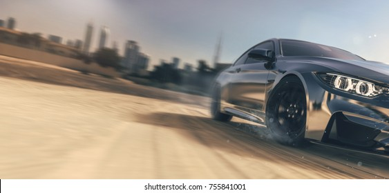 High speed chrome car near city - (with grunge and motion blur effect) - 3d illustration