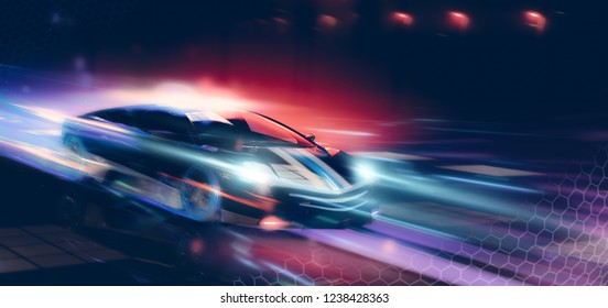 High speed, conceptual police sports car driving - futuristic concept (with grunge overlay and motion blur) brand less - 3d illustration