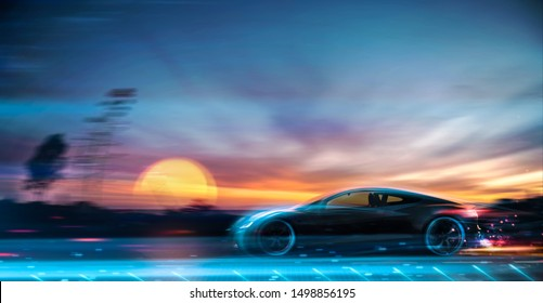 High speed futuristic car at sunset - 3D illustration, 3D render
