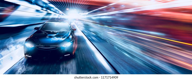 High speed luxury sedan driving in the city - futuristic car concept (with grunge overlay) generic and brand less - 3d illustration