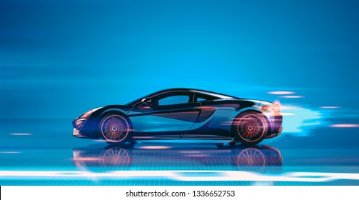 High speed, sports car - futuristic concept (with grunge overlay) generic and brandless - Side view - 3d illustration