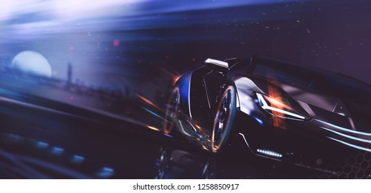 High speed, sports car racing on the moonlight - futuristic concept (with grunge overlay) generic and brand less - 3d illustration