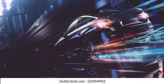 High speed, sports car speeding through conceptual futuristic city  (with grunge overlay) brandless - 3d illustration