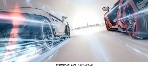 High speed, sports cars racing, moving towards city - futuristic concept (with grunge and grain overlay) generic and brandless - 3d illustration