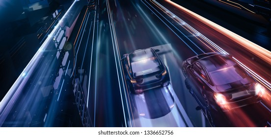 High speed, sports cars racing - futuristic city concept (with grunge overlay) brandless - 3d illustration
