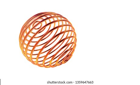 High tech conceptual objects, sphere made of glossy golden wires twisted in 3D space