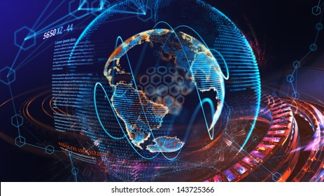 high tech digital holographic earth globe with part of futuristic interface