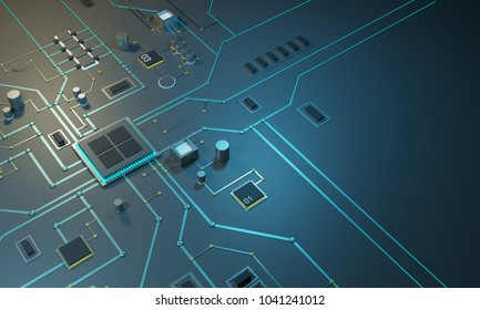 High tech electronic PCB Printed circuit board with processor, microchips and glowing digital electronic signals. 3d illustration 3d render The processor on the integrated circuit. Energy lines neon