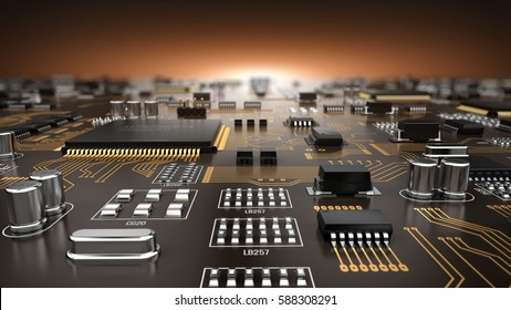 High tech electronic PCB (Printed circuit board) with processor and microchips. 3d illustration.