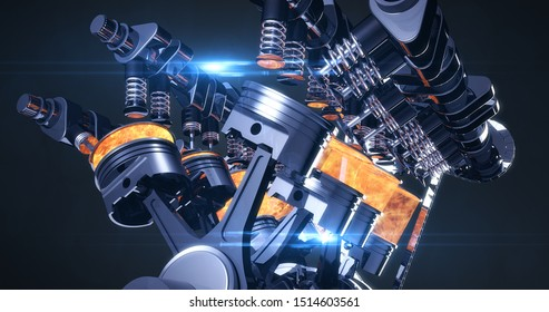 High Tech V8 Diesel Engine With Explosions. Pistons And Other Mechanical Parts - 3D Illustration Render