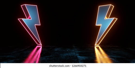 High Voltage Electric Neon Glowing Thunder Bolt Shapes Sci Fi Futuristic Modern Dark Background Grunge Concrete Room Empty Space  And Reflections Pink Purple Orange Glowing 3D Rendering Illustration