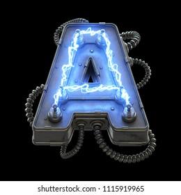 High voltage lightning font. 3d rendering