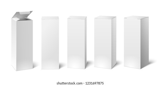 High white cardboard box mockup. Set of realistic vertical tall cardboard rectangular cosmetic or medical packaging, paper boxes.  3D illustration isolated collection