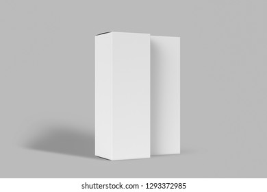 High white Cardboard Boxes mock up.Realistic vertical tall cardboard rectangular cosmetic or medical packaging, paper boxes. 3D rendering