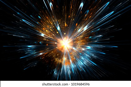 High-energy particles explosion. 3D illustration