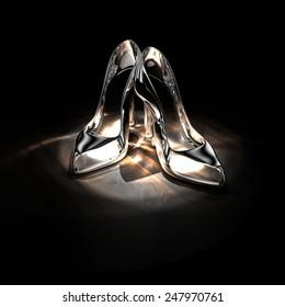 High-heel shoes glass