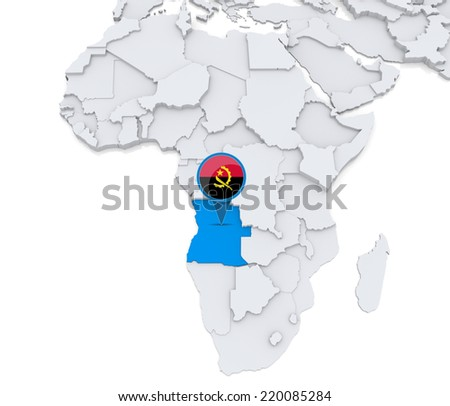 Africa Map Angola.Highlighted Angola On Map Africa National Stock Illustration