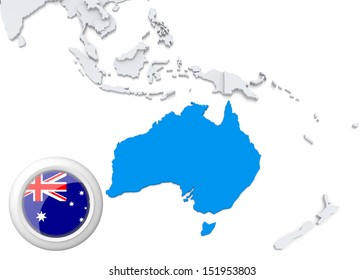 Abstract map world highlighted australia stock illustration highlighted australia on map of australia and oceania with national flag gumiabroncs Images