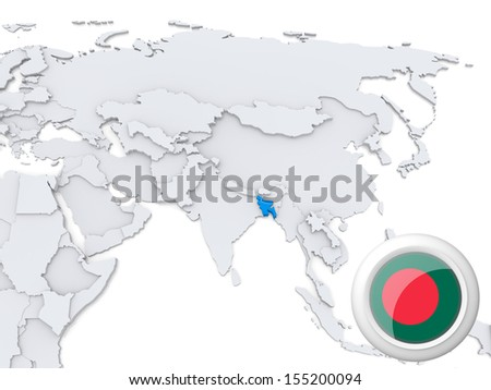 Bangladesh On Map Of Asia.Highlighted Bangladesh On Map Asia National Stock Illustration