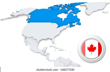 Highlighted Canada on map of north america with national flag