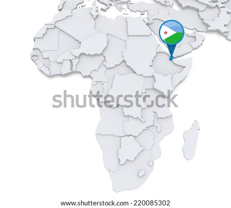Djibouti On Africa Map.Royalty Free Stock Illustration Of Highlighted Djibouti On Map