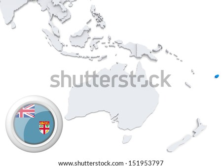 Highlighted fiji on map australia oceania stock illustration highlighted fiji on map of australia and oceania with national flag gumiabroncs Gallery