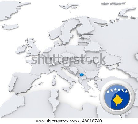 Highlighted Kosovo On Map Europe National Stock Illustration