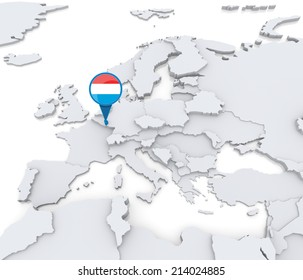 Highlighted Luxembourg on map of Europe with national flag