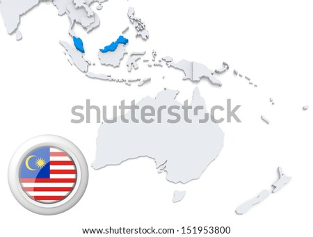 Highlighted malaysia on map australia oceania stock illustration highlighted malaysia on map of australia and oceania with national flag gumiabroncs Images