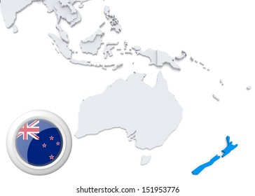 Abstract map world highlighted australia stock illustration highlighted new zealand on map of australia and oceania with national flag gumiabroncs Images