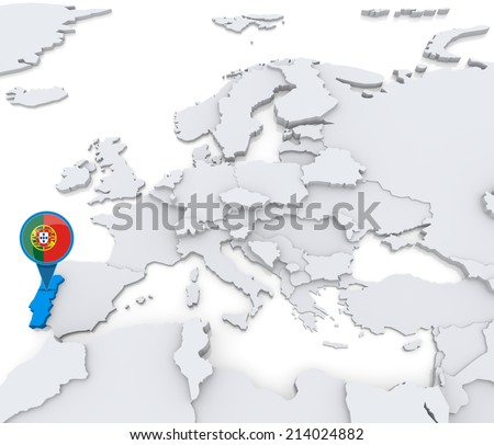 Highlighted Portugal On Map Europe National Stock Illustration