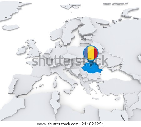 Highlighted Romania On Map Europe National Stock Illustration ...