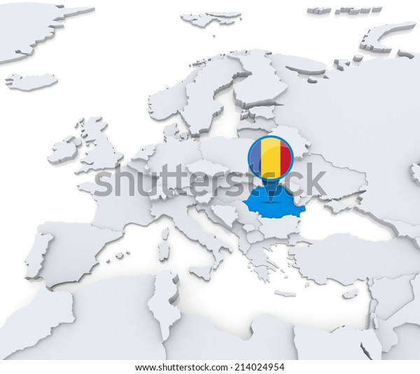 Highlighted Romania On Map Europe National Stock ...