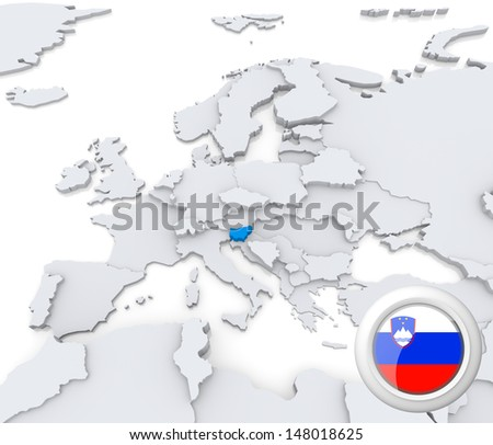 Highlighted Slovenia On Map Europe National Stock Illustration ...