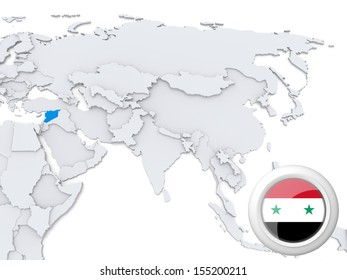 Highlighted iraq on map asia national stock illustration 155200112 highlighted syria on map of asia with national flag gumiabroncs Choice Image