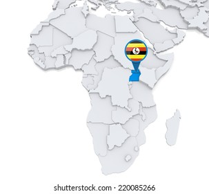 Highlighted Uganda on map of Africa with national flag