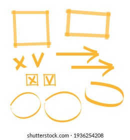 Highlighter marks, stripes, strokes, frames, speech bubbles, crosses, ticks and arrows set. Elements drawn with colored marker
