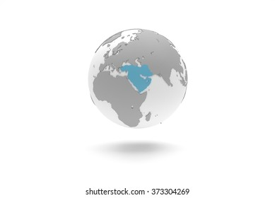 Highly detailed 3D planet Earth globe with grey continents in relief and white oceans, centered in blue Middle East