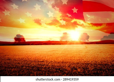 Highly Detailed 3d Render of an American flag against countryside scene