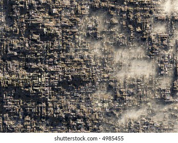 highly detailed abstract cityscape viewed from high above (no streets)