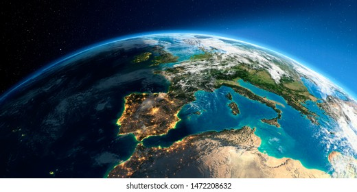 Highly detailed Earth with atmosphere, exaggerated relief and light-flooded cities. Transition from night to day. Europe, the Mediterranean Sea. 3D rendering. Elements of this image furnished by NASA