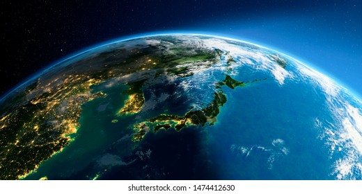 Highly detailed Earth with atmosphere, exaggerated relief and light-flooded cities. Transition from night to day. Part of Asia, Japan and Korea. 3D rendering. Elements of this image furnished by NASA
