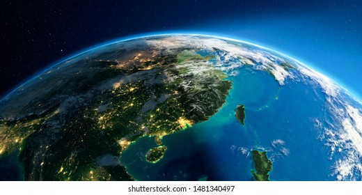 Highly detailed Earth with atmosphere, exaggerated relief and light-flooded cities. Transition from night to day. Eastern China and Taiwan. 3D rendering. Elements of this image furnished by NASA