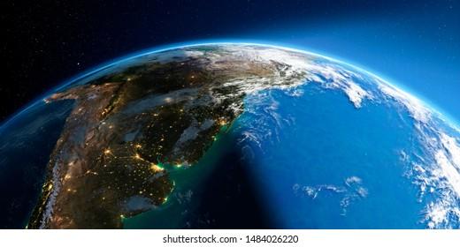 Une Terre très détaillée avec l'atmosphère, un soulagement exagéré et des villes inondées de lumière. Transition de la nuit au jour. Amérique du Sud. Rio de La Plata. Rendu 3D. Éléments de cette image fournis par la NASA