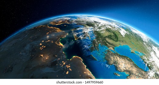 Highly detailed Earth with atmosphere, exaggerated relief and light-flooded cities. Transition from night to day. Europe. Mediterranean Sea. 3D rendering. Elements of this image furnished by NASA